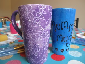 Our tall mugs, big enough for an older child's foot or handprint. £9