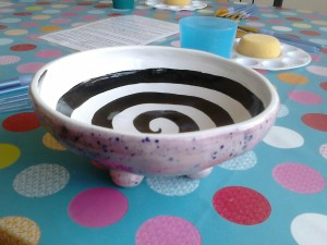 Funky bowl decorated on the outside with our magic glass glaze £20.80