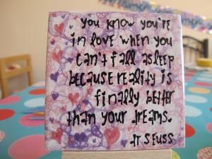 "Love this sentiment 4"" tiles £4"